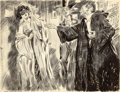 Mainstream Illustration, JAMES MONTGOMERY FLAGG (American, 1877-1960). TheMasquerade. Pen and ink on paper. 20.75 x 27 in.. Signed lowerleft. ...