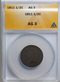 1811 1/2 C AG3 ANACS. NGC Census: (0/33). PCGS Population (2/126). Mintage: 63,140. Numismedia Wsl. Price for problem fr...