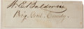 "Autographs:Military Figures, Confederate General William Edwin Baldwin Clipped Signature ""W.E. Baldwin""...."