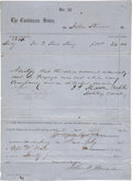 "Autographs:Military Figures, Confederate General Turner Ashby Document Signed ""Turner Ashby""...."