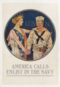 Mainstream Illustration, JOSEPH CHRISTIAN LEYENDECKER (American, 1874-1951). AmericaCalls Enlist in the Navy, vintage WWI poster. Printed and mo...