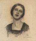 Paintings, DEAN CORNWELL (American, 1892-1960). Marion Moorhouse. Charcoal on paper. 11.75 x 10.25 in.. Initialed lower right. ...