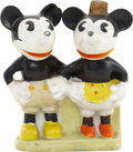 Memorabilia:Disney, Mickey and Minnie Mouse Bisque Toothbrush Holder #C100 (1930s)....