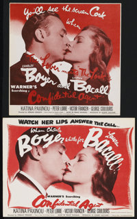 """Confidential Agent (Warner Brothers, 1945). Heralds (2) (9.75"""" X 9.75"""" and 8.75"""" X 11.5""""). Drama. St..."""