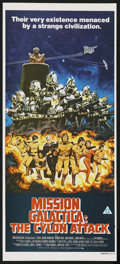 "Movie Posters:Science Fiction, Mission Galactica: The Cylon Attack (Universal, 1979). Australian Daybill (13"" X 30""). Science Fiction. Starring Richard Hat..."