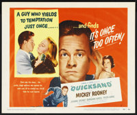 "Quicksand (United Artists, 1950). Title Lobby Card (11"" X 14""). Film Noir. Starring Mickey Rooney, Jeanne Cagn..."
