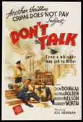 """Movie Posters:Short Subject, Crime Does Not Pay - """"Don't Talk"""" (MGM, 1942). One Sheet (27"""" X41""""). Short Subject. Starring Donald Douglas, Gloria Holden,..."""
