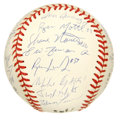 Autographs:Baseballs, 1998 Team USA Signed Baseball. The USA national baseball squad isamply represented here with one of the finest team orbs y...