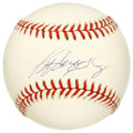 Autographs:Baseballs, Ken Griffey Jr. Single Signed Baseball. Clean white OAL (Brown) orbseen here sports a neat application of the kid Ken Grif...