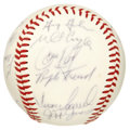 Autographs:Baseballs, 1995 Detroit Tigers Team Signed Baseball. Hall of Fame managerSparky Anderson final Tiger team is represented by the 26 si...