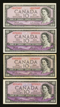 Canadian Currency: , Canadian Tens.. ... (Total: 4 notes)
