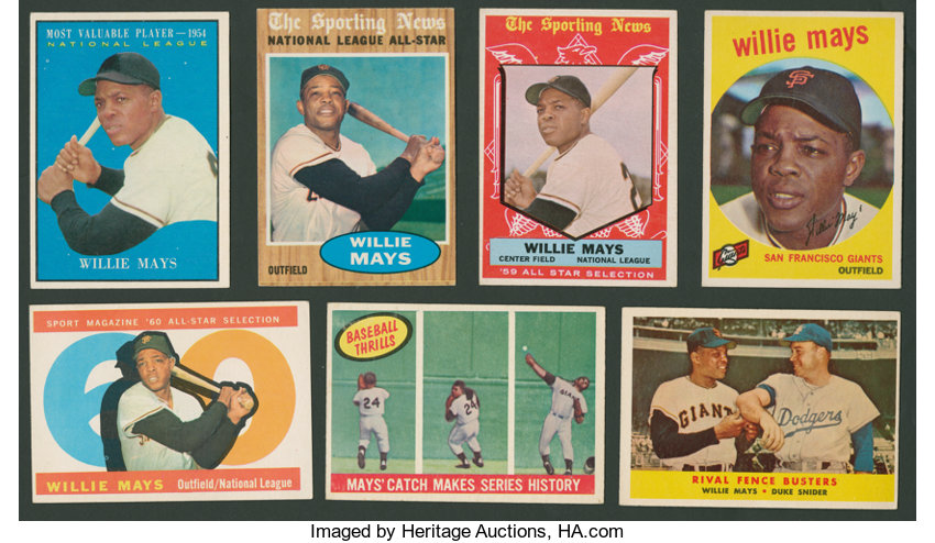 1950s 1960s Topps Willie Mays Collection 7 Baseball