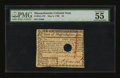 Colonial Notes:Massachusetts, Massachusetts May 5, 1780 $2 PMG About Uncirculated 55....