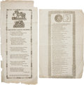 """Miscellaneous:Ephemera, Confederate Printings: Two Poems Printed by New Orleans Printer John Hopkins. One, """"My Little Ned and I"""" (6"""" x 9.5""""), mourns... (Total: 2 Items)"""