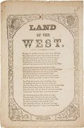 """Miscellaneous:Ephemera, Western Expansion: Songsheet with """"Land of the West"""". One page,6.5"""" x 10"""", n.d. [ca. 1864], New York, printed. The """"Lan..."""
