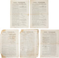Miscellaneous:Newspaper, Civil War: Five Copies of the Painesville [Ohio] Daily Telegraph, 1861. The paper, a daily (excepting Mondays) w... (Total: 5 Items)