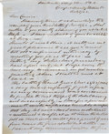 Autographs:Military Figures, Joseph Warren Keifer Battle of Locust Grove Autograph LetterSigned. One page, penned on recto and verso of blue stationery,...