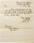 "Autographs:Military Figures, Stephen D. Lee War-dated Autograph Letter Signed to Commander JohnRutledge. One page, 8"" x 9.75"", ""Commandant's Office, C..."