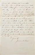 "Autographs:Military Figures, Civil War Union Soldier's Letter Describing the Battle of Pocotaligo. One page penned on recto and verso, approximately 5"" x..."