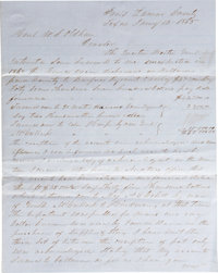 "Texas CSA: J. G. Wright Autograph Letter Signed. Two pages penned on recto and verso, 7.75"" x 9.75"", on blue l..."