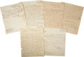 Autographs:Military Figures, William Eustis Letters (Six) Signed as the secretary of war under President Madison. All are dated between 1810 and 1812 and... (Total: 6 Items)