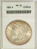 Morgan Dollars: , 1893 $1 MS63 ANACS. NGC Census: (575/739). PCGS Population (1157/1372). Mintage: 389,792. Numismedia Wsl. Price for problem...