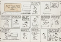 Charles Schulz Peanuts Snoopy vs. the Red Baron Sunday Comic Strip Original Art dated 7-31-66 (United Feature Syn