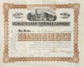 "Autographs:Military Figures, Joshua Chamberlain Stock Certificate Signed as president of theOcala and Silver Springs Company. One page, 12"" x 9.5"", Marc..."