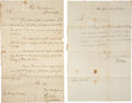 Autographs:Military Figures, Henry Knox Group of Two Letters Signed and Two SecretariallyRetained Copies. All are dated between 1789 and 1792, while Hen...(Total: 4 Items)