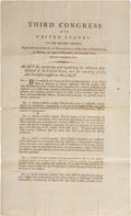 Miscellaneous:Broadside, [George Washington] Broadside Act Regulating MilitaryEstablishment, annotated and twice signed by James Wilkinson.Thre...