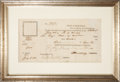 """Autographs:Military Figures, [Benjamin Lincoln] Thomas Melvill Document Signed """"T Melvill"""". Also includes a secretarially signed """"B Lincoln"""". One..."""