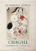 "Autographs:Artists, Marc Chagall Signed Kunsthaus Zürich Color Exhibition Cover. Onepage, 8.5"" x 12"" (sight size), matted (14.5"" x 18"" overall)..."
