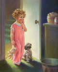 Mainstream Illustration, MABEL ROLLINS HARRIS (American, 20th Century). Contemplating theCookie Jar. Pastel on board. 27.5 x 21.5 in.. Signed lo...