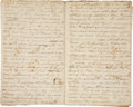 "Autographs:Statesmen, Slavery: Travel Journal Describing Senate Debate on Abolition,1836. Twenty-four pages (eight of which are blank), 5"" x 7.25..."