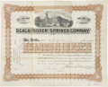"""Autographs:Military Figures, Joshua Chamberlain Stock Certificate Signed as president of the Ocala and Silver Springs Company. One page, 12"""" x 9.5"""", Marc..."""