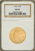 Indian Eagles: , 1915 $10 AU55 NGC. NGC Census: (72/3115). PCGS Population(154/2349). Mintage: 351,075. Numismedia Wsl. Price for problemf...