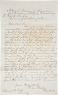 "Autographs:Authors, [Horace Greeley] Fair Copy of a Letter regarding the NationalBureau of Migration and homestead settlement. One page, 7.25"" ..."