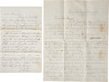 Autographs:Statesmen, [Abraham Lincoln] Perham Family Letters (Three) Regarding Lincoln'sAssassination. (1) Aurestus S. Perham Autograph Letter S... (Total:2 Items)