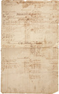 """Books:Manuscripts, Eighteenth Century Massachusetts Ledger Sheet. Four pages, 11.5"""" x18.5"""", containing various individual accounts for the yea..."""