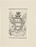 Books:Non-fiction, [George Washington]. Scarce Personal Bookplate. One page, 2.5 x 4inches, hinged at top of the verso to a mat, overall size ...