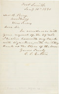 """Autographs:Military Figures, Confederate General Richard Caswell Gatlin Autograph Letter Signed """"R. C. Gatlin"""". One page, 5"""" x 8"""", January 10, 1880, ..."""