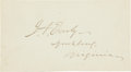 "Autographs:Military Figures, Confederate General Jubal Early Signature, 4.75"" x 2.5"". A skilled Confederate general known for his cursing, Early has sign..."