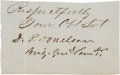 "Autographs:Military Figures, Confederate General Daniel Smith Donelson Signature, 3"" x 2"". The nephew of Andrew Jackson and brother of Andrew Jackson Don..."