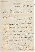 """Autographs:Military Figures, Confederate General Bradley Tyler Johnson Autograph Letter Signed. One page, 5.5"""" x 8"""", March 27, 1888, Baltimore, on """"Law..."""