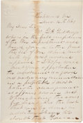 """Autographs:Military Figures, Thomas N. Waul Autograph Letter Signed to Texas Governor Francis Lubbock. Two pages, 5.25"""" x 8"""", December 14, 1861, Richmond..."""