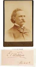 Autographs:Military Figures, Confederate General Edward Walthall Signature and Cabinet Card. The Confederate general and postbellum Mississippi senator h...