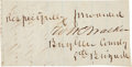 """Autographs:Military Figures, Confederate General William H. T. Walker Signature, 3"""" x 1.5"""", on lined paper excised from a larger document. The Confederat..."""