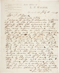 """Autographs:Military Figures, Confederate General Leroy Pope Walker Autograph Letter Signed. One page, 9.25"""" x 11.5"""", July 11, 1874, Huntsville, Alabama, ..."""