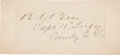 """Autographs:Military Figures, Confederate General Barnard Elliott Bee Clipped Signature """"B. E. Bee/ Capt. 10th Infy/ Commdg. Co. D."""". 4.5"""" x 1.75"""". Mo..."""