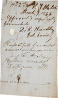 """Autographs:Military Figures, Confederate General Edward Dorr Tracy Document Signed """"E. D.Tracy"""". 3.5"""" x 6"""". Dated March 7, 1863. Mounted to a paper ..."""